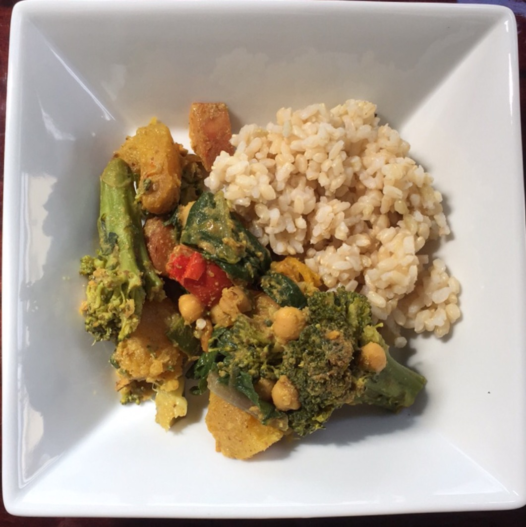 vegetable curry, curry, vegetable, vegan, coconut cream, sweet potato, broccoli, whole food plant based, healthy eating, easy food, quick recipe