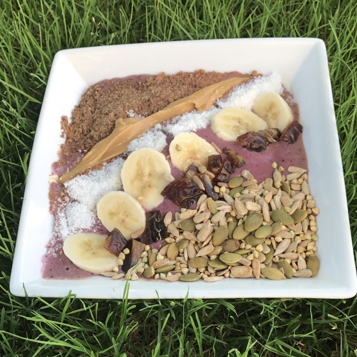 breakfast bowl, nice cream, berries, banana, cacao, peanut butter, dates, buckwheat, vegan, wholefood, plant based, gluten free, dairy free, green tara wellness, IIN, IIN health coach, health coach,