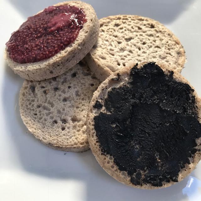 crumpet, gluten free, plant based, vegan, dairy free, vegemite, chia jam, buckwheat, green tara wellness, health coach, healthy recipe, breakfast,