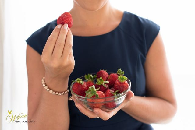 food, strawberry, red, blue dress, rose gold, health coach, green tara wellness,