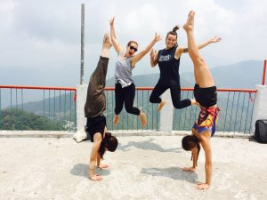 riskikesh, india, yoga teacher training, mountains, jump, handstand, yoga, teacher training, green tara wellness