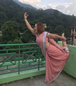 sari, india, yoga, dancer, asana, pose, krishna cottage, rishikesh yogpeeth, green tara wellness, yoga teacher training, 200 hour, rishikesh,