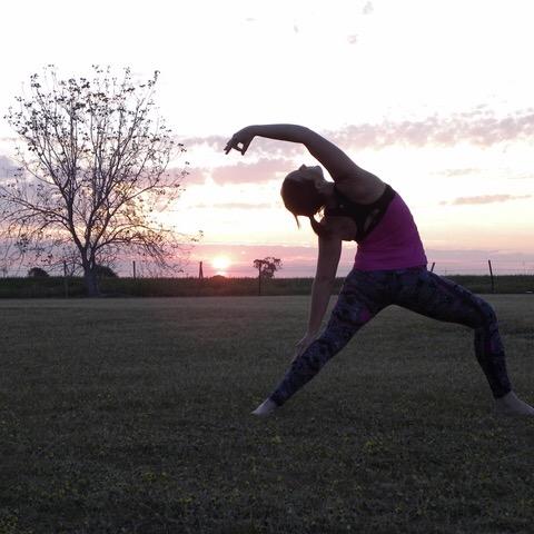 reverse warrior, yoga, sunset, yarrawonga, bundalong, green tara wellness